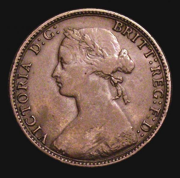 Halfpenny 1874H Freeman 320 struck on a thick 2mm flan Fine with a curved imperfection on the reverse, one of the key varieties in the entire bronze halfpenny series, certainly one of only a handful known, rated R20 by Freeman, we note one other