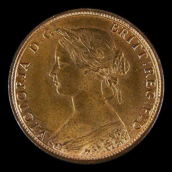 Halfpenny 1862 Freeman 289 dies 7+G Lustrous UNC, slabbed and graded LCGS 82