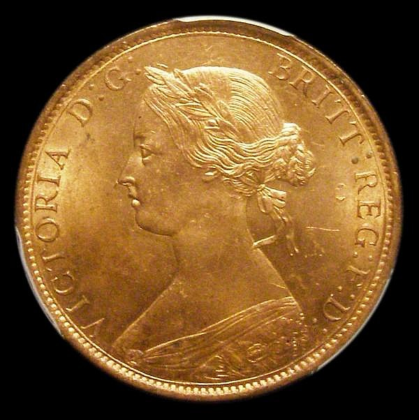 Halfpenny 1862 Freeman 289 dies 7+G Lustrous UNC, in a PCGS holder slabbed and graded MS64 RB