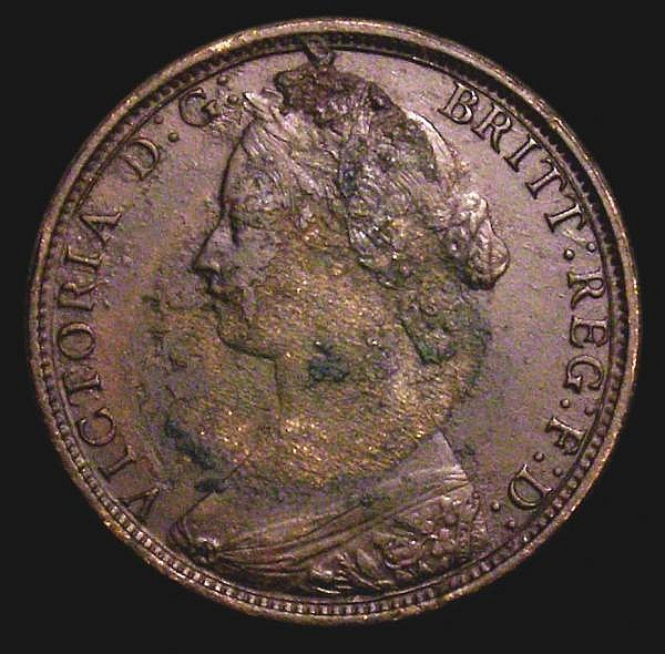 Halfpenny 1862 Die Letter B Freeman 288 dies 7+E NVF for wear the obverse with corrosion, the reverse less so with the B very bold and all major details very clear,  very rare and seldom seen in any grade
