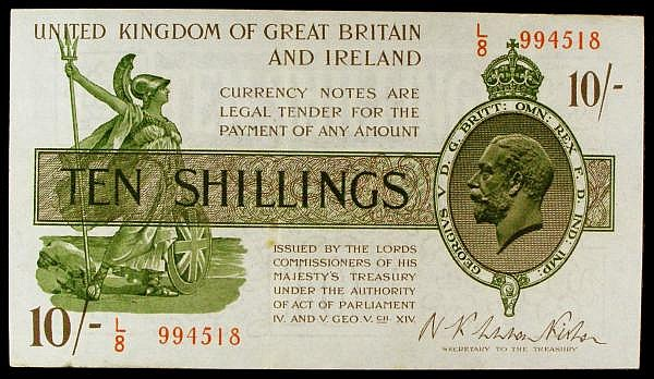 Ten shillings Warren Fisher T30 issued 1922 series L/8 994518, Pick358, pressed GVF