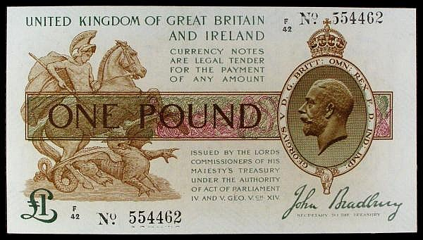 One pound Bradbury T16 issued 1917 series F/44 554462, pressed GEF, looks better