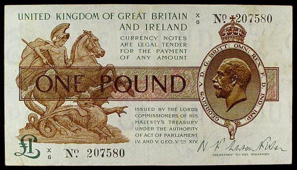 One pound Warren Fisher T24 issued 1919 last series X/6 207580, good Fine
