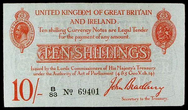 Ten shillings Bradbury T12.1 issued 1915 series B/83 69401, Pick348a, slight corner wear, cleaned & pressed VF