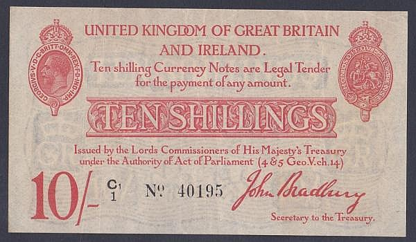 Ten shillings Bradbury T12.2 issued 1915 series C1/1 40195, faint dirt marks reverse, pressed VF
