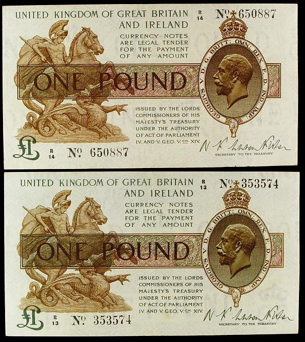 One Pound Warren Fisher First Issue T24 (2) R13 353574 and R14 650887 VF