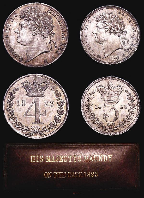Maundy Set 1823 ESC 2427 GVF to EF the Threepence with an edge knock, housed in a dated case with 'HIS MAJESTYS MAUNDY ON THIS DATE 1823' on the lid, these early dated boxes very rare, expert and well networked collectors of Maundy Sets in