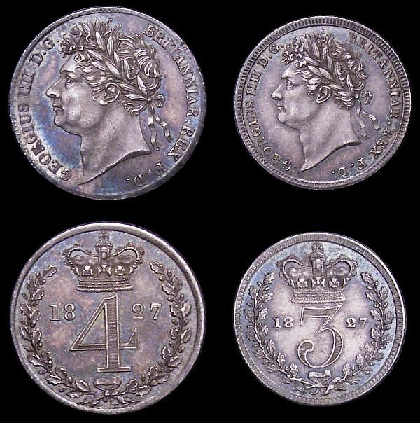 Maundy Set 1827 ESC 2431 GEF to A/UNC with matching tone, the Twopence with some light contact marks and small rim nicks