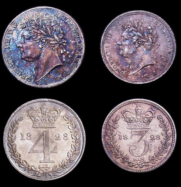 Maundy Set 1828 ESC 2432 GEF to UNC, with a matching colourful tone, the Threepence with some light hairlines, the Twopence with a couple of small rim nicks