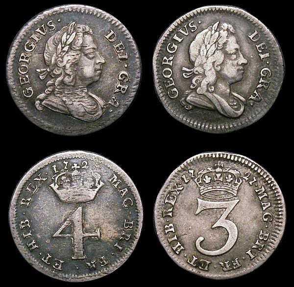 Maundy Set 1727 ESC 2401 comprising Fourpence NVF/Fine, toned with some adjustment lines, Threepence Fine, toned, Twopence Fine, Ex-mount, lacquered, Penny GVF/NEF toned with some adjustment lines