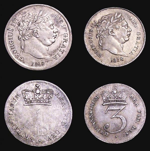 Maundy Set 1818 ESC 2423 GEF, the Fourpence with some slight toning areas
