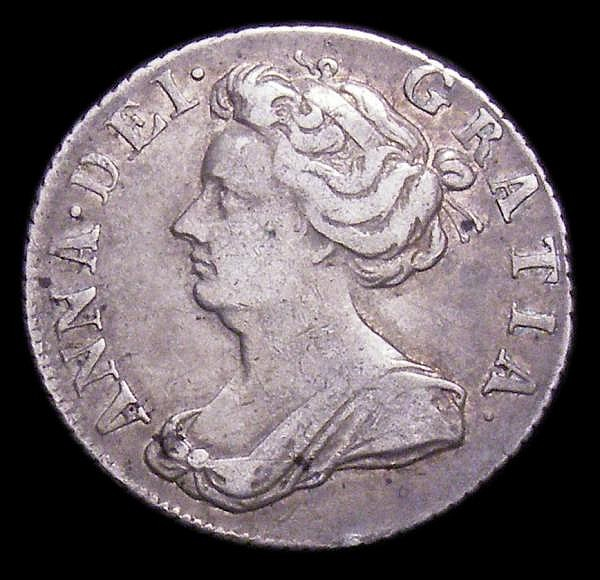 Sixpence 1707 Roses and Plumes ESC 1586 NVF the obverse with a couple of small spots