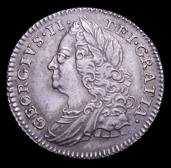 Sixpence 1750 ESC 1620 EF and attractively toned, the reverse with a small rim nick