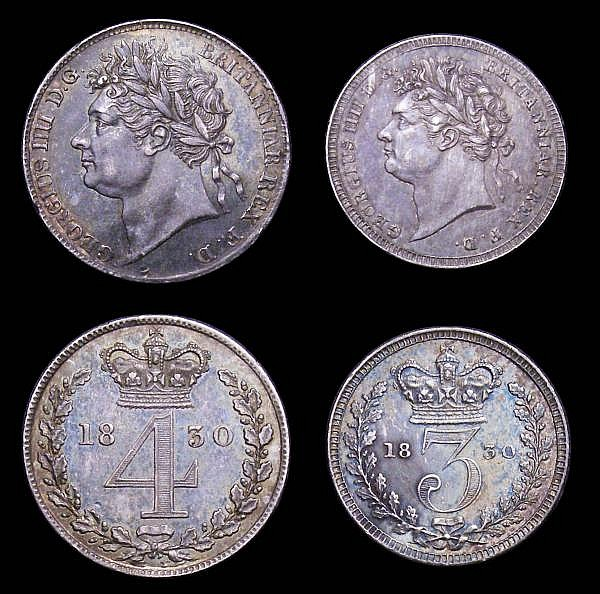 Maundy Set 1830 ESC 2435 VF to EF with an attractive matching tone, the Fourpence and Penny with small edge nicks