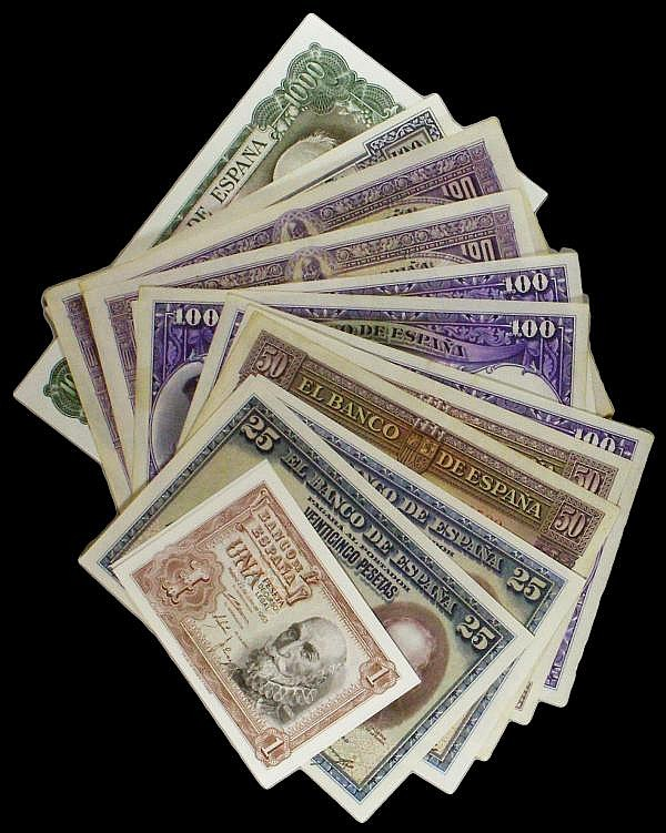Spain 1000 Pesetas 1971 Pick 154 UNC along with Spain a mixed group 100 Pesetas to 1 Peseta 1920s to 1950s issues (13) these in mixed grades