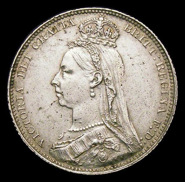 Shilling 1889 ESC 1355 Davies 986A dies 2C, VF with some surface marks and hairlines, Rare