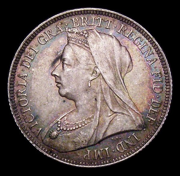 Shilling 1894 ESC 1363 Davies 1014 dies 2A UNC with a deep and colourful tone