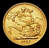 Sovereign 1887S George and the Dragon Horse with short tail, small BP, S.3858E VF