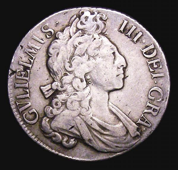 Shilling 1698 Fourth Bust, Flaming Hair, Plain in angles ESC 1115 Fine, Rare