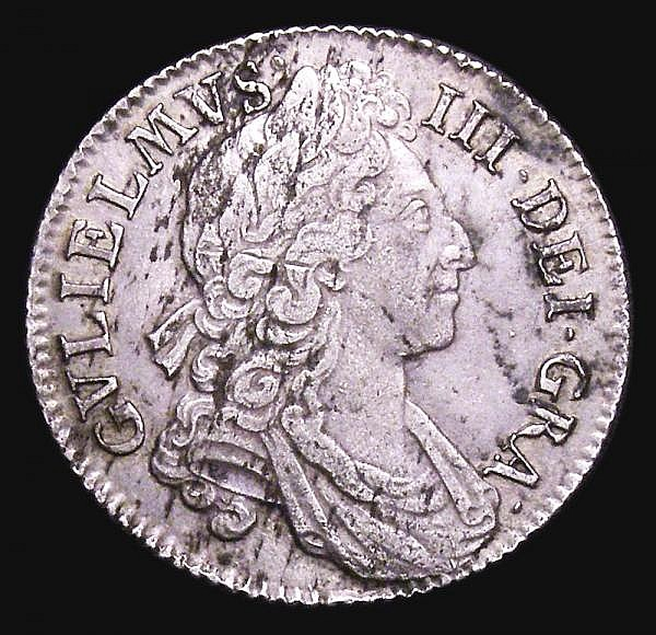 Shilling 1698 Third Bust variety, Plain in angles, ESC 1112 VF with some haymarking and an old scratch on the obverse, scarce