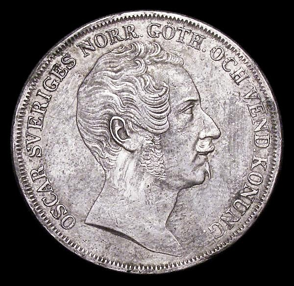 Sweden Riksdaler 1844 toned EF KM661 large head type