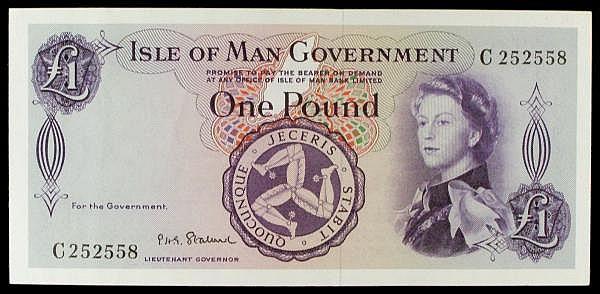 Isle of Man 1 issued 1961 QE2 at right, series C252558, Stallard signature, Pick25b, EF+