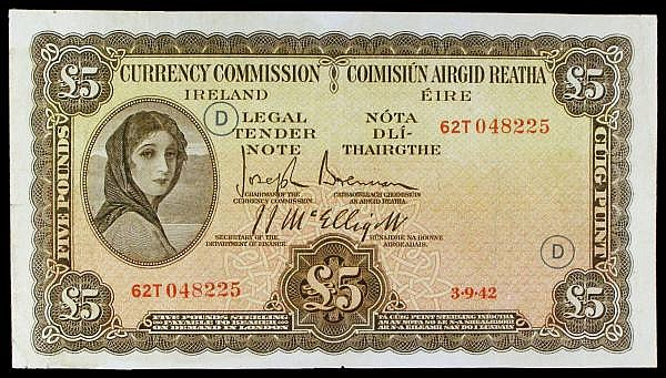Ireland Five Pounds Lavery Pick 3c Wartime Code D issue 3/9/1942 Fine