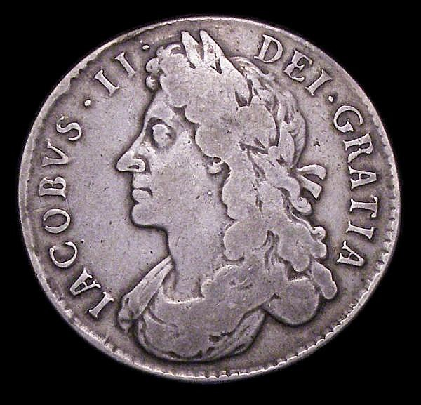 Halfcrown 1687 First Bust ESC 498 VG with a J scratched in one of the reverse angles