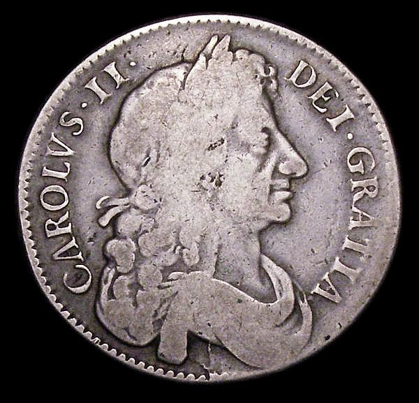 Halfcrown 1676 VICESIMO OCTAVO with Retrograde 1 in date ESC 478A VG/NF