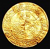 Angel Henry VIII First Coinage S.2265 mintmark Portcullis, Fine creased with a small flan crack in the centre and a small edge nick