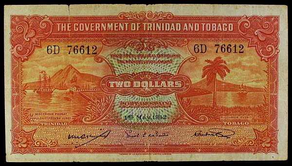 Trinidad & Tobago $2 dated 1st May 1942 series 6D 76612, Pick8, edge tears, Fine