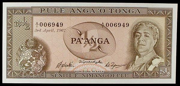 Tonga 1/2 pa'anga dated 3 April 1967 first series A/1 006949, Pick13a, UNC