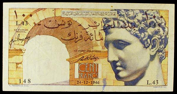 Tunisia 100 francs dated 24-12-1946 series L.43 148, Pick24, foxing spot at top & small ink mark at bottom, good Fine