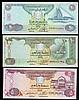 United Arab Emirates (3) issued 2014, 5 dirham Pick35, 10 dirham Pick36 and 20 dirham Pick37, all 999 replacement issues, UNC