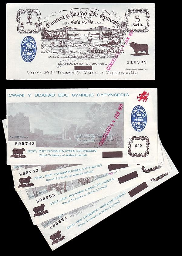Wales (5) consisting of 10/-, 1, 5 and 10 black sheep notes with blue duty stamp dated 1970, and 5 Swilt note all with CANCELLED 4 JAN 1971 in red, about UNC