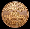 Australia Penny Token undated, Joseph Moir, Hobart, Tasmania KM#Tn174 NVF once cleaned now retoned