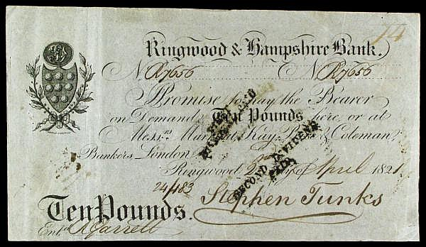 Ringwood & Hampshire Bank 10 dated 1921 No.R7656 for Stephen Tunks (Outing 1788e), dividend stamps, pinholes, about VF and a scarce high value