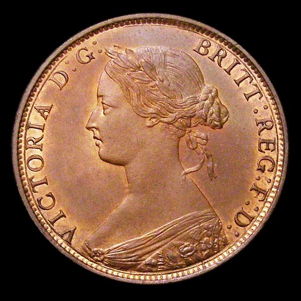 Halfpenny 1861 Freeman 282 dies 7+G UNC with traces of lustre