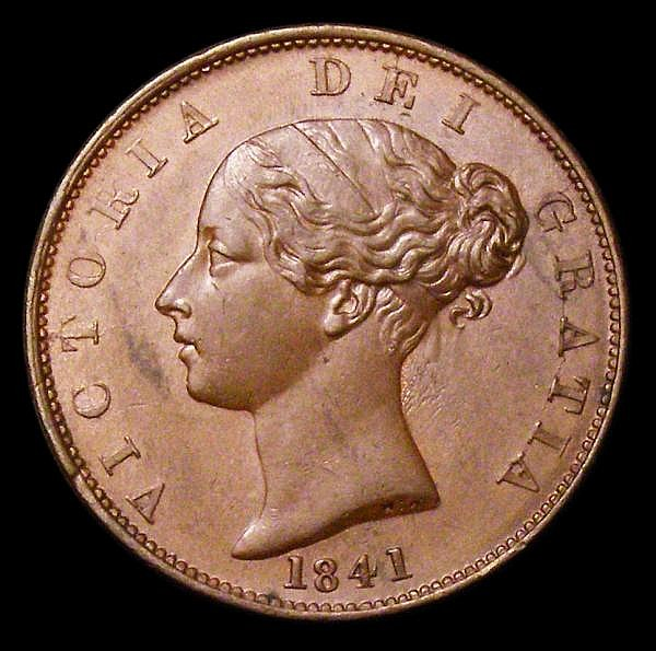 Halfpenny 1841 as Peck 1524 with DF.I for DEI, EF toned with some light contact marks