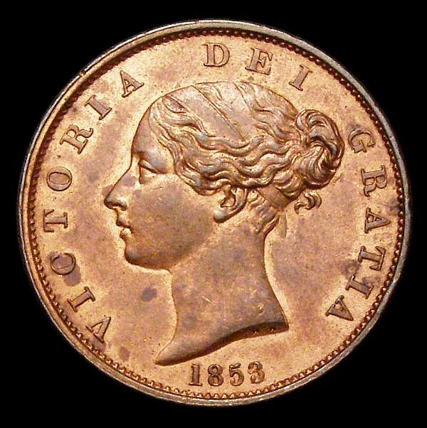 Halfpenny 1853 3 over 2 Peck 1538 EF with a small flaw in the reverse field
