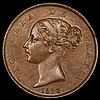 Halfpenny 1853 3 over 2 Peck 1538 in a PCGS holder graded MS63 BN (variety not stated on the holder)