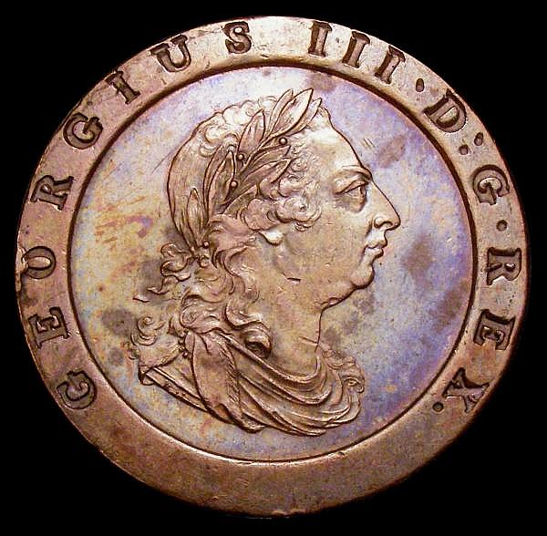 Twopence 1797 Peck 1077 GVF nicely toned, the obverse with a few underlying spots