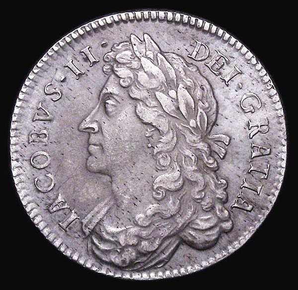Halfcrown 1686 SECVNDO ESC 494 VF with a series of thin scratches visible under magnification, and some light haymarks