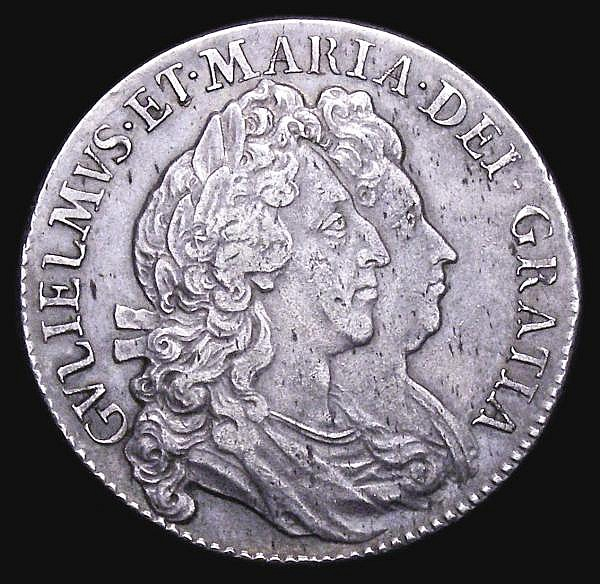 Halfcrown 1692 ESC VF with grey tone, the obverse with some light haymarking, a pleasing piece, with the reverse in particular having much eye appeal