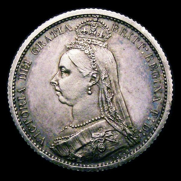 Sixpence 1887 Jubilee Head Withdrawn type, Proof ESC 1753 UNC with an edge nick and some hairlines