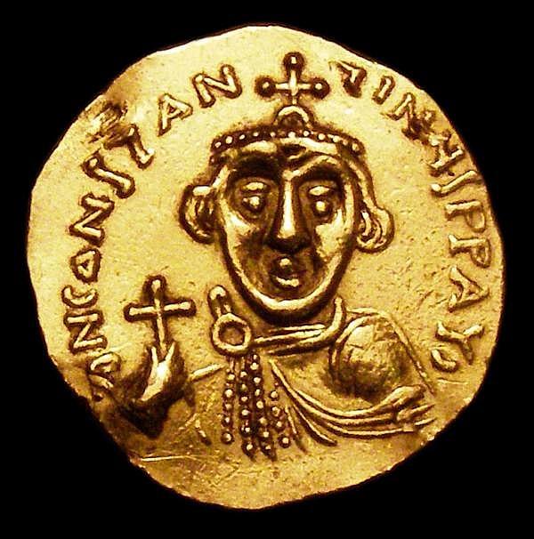 Byzantine Gold Solidus Constans II (641-646) Fine, ex-jewellery