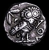 Attica.  Athens.  Ar tetradrachm. C, 390-300 BC.  Obv; Helmeted head of Athena r.  Rev; Owl stdg r, olive sprig and crescent above.  Svoronos-pl. 19.34.  Good silver and toned.  17.16g.  NVF