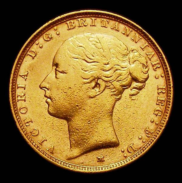 Sovereign 1886M George and the Dragon Marsh 108 Good Fine, the obverse with surface marks