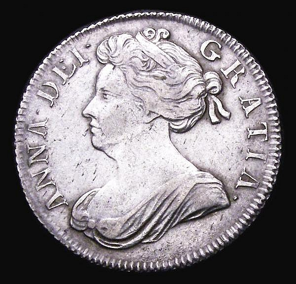 Shilling 1702 Plumes ESC 1129 GF/VF, the obverse with some thin scratches