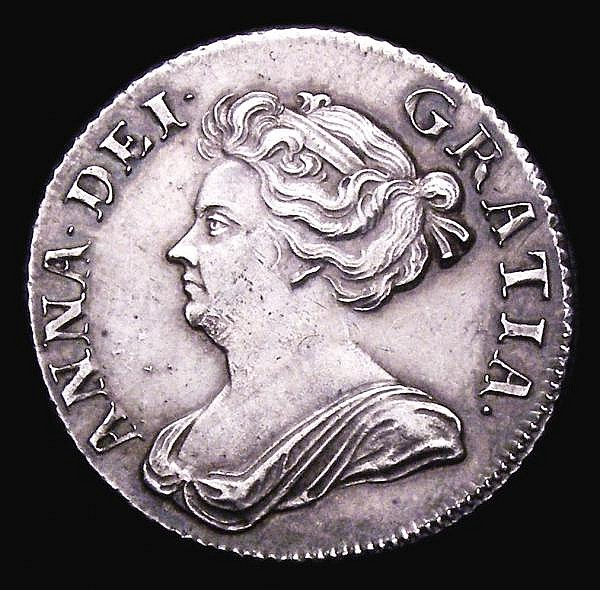 Shilling 1709 Third Bust ESC 1154 EF with grey tone